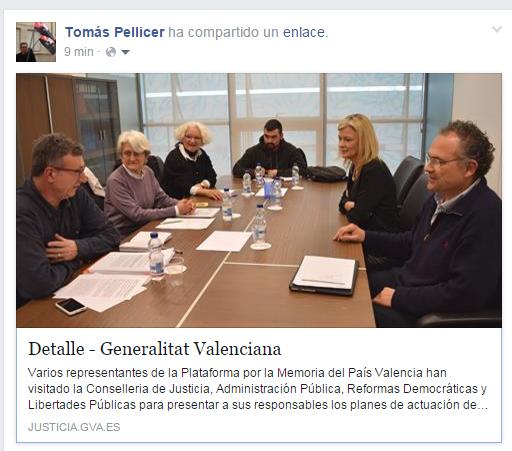 La Plataforma per la Memòria del País Valencià acudeix a una reunió en la Conselleria de Justícia amb la Consellera Gabriela Bravo i el Director General de ReformesDemocràtiques.